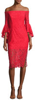 Milly Selena Off-the-Shoulder Lace Cocktail Dress, Red