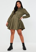 Missguided Plus Size Khaki Pearl Button Skater Shirt Dress