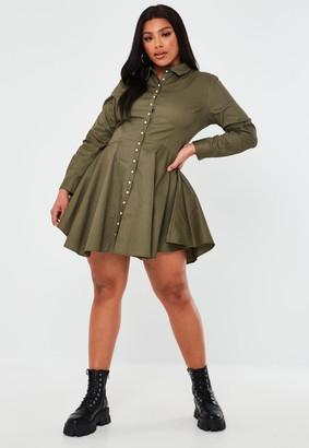 Missguided Plus Size Khaki Pearl Button Skater Shirt Dress