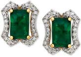 Macy's Emerald (1-1/5 ct. t.w.) & Diamond (1/6 ct. t.w.) Stud Earrings (3/8 ct. t.w.) in 14k Gold