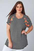 Yours Clothing Black & White Stripe Fine Knit Top With Floral Embroidered Shoulders