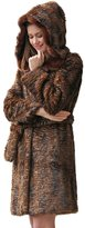 Adelaqueen Women's Winter New Style Persian Lamb Faux fur Coat Faux Sable Hooded Size L