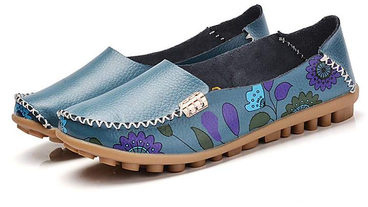 3e756a4e1c319 Jacky's Loafers Shoes Women's Fashion Trendy Moccasins Loafer with Adorable  Flower Print Design Made of Genuine Leather Closed Round Toe Casual ...