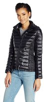 Calvin Klein Women's Lightweight Ribbed Down Jacket with Hood and Logo