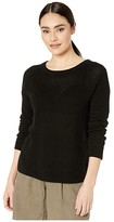 Michael Stars Paige Long Sleeve Scoop Neck Pullover Cotton Sweater (Black) Women's Clothing