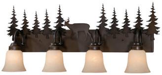 Vaxcel Bryce 4 Light Bronze Rustic Deer Bathroom Vanity Fixture