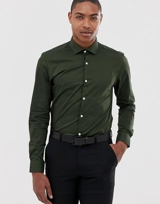 Moss Bros skinny fit shirt in khaki-Green