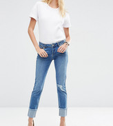 Asos Kimmi Shrunken Boyfriend Jeans In Rio Wash With Rips And Turn Up