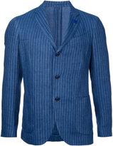 Lardini striped single-breasted blazer - men - Cotton/Linen/Flax - 46