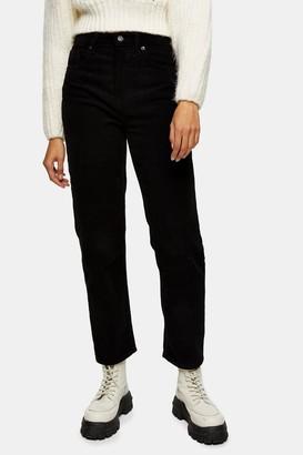 Topshop Womens Black Corduroy Clean Hem Straight Jeans - Black