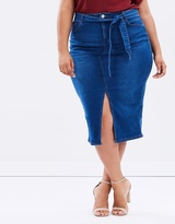 Denim Pencil Skirt with Tie Waist