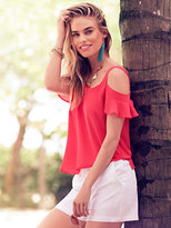 New York & Co. Sweet Pea - Flutter-Sleeve Cold-Shoulder Blouse - Pink