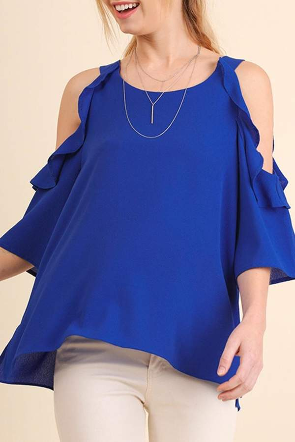 Umgee USA Cold Shoulder Blouse