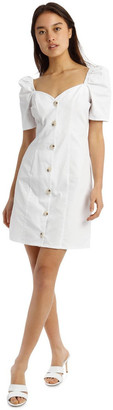 Missguided White Poplin Milkmaid Button-Through Mini Dress