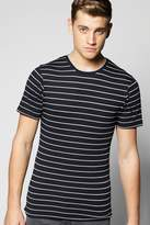 Boohoo Navy Stripe Muscle Fit T Shirt