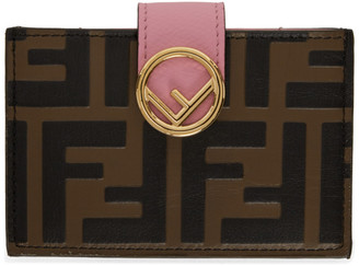 Fendi Brown and Pink Forever F is Card Holder