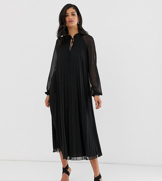 Asos DESIGN Tall pleated trapeze midi dress with tie neck
