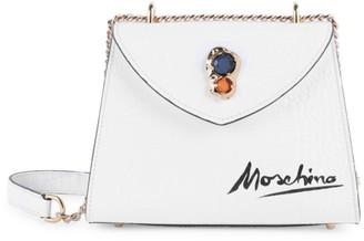 Moschino Jewel-Embellished Croc-Embossed Leather Shoulder Bag