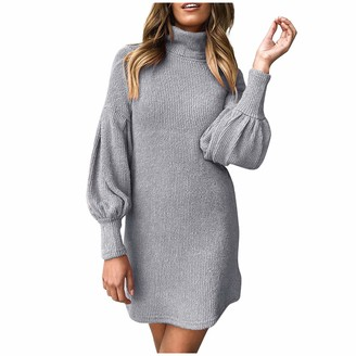 CHAOEN Women's Long Sleeve Knitwear Sweater Dress Turtleneck Chunky Cable Casual Pullover Ribbed Bodycon Knitted Jumper Pink