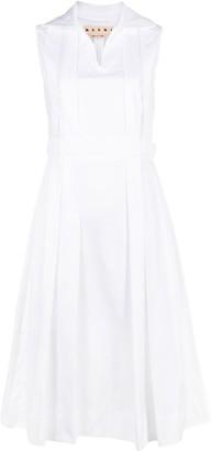 Marni Pleated Flared Mini Dress