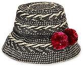 Kate Spade Basket Weave Pom Pom Flat-Top Cloche Hat