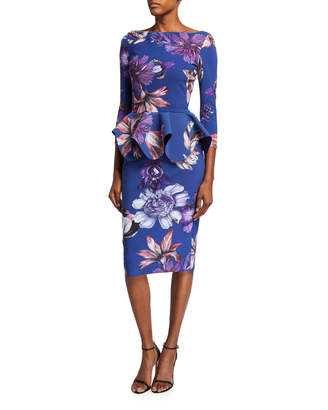 Chiara Boni Floral High-Neck Long-Sleeve Peplum Dress