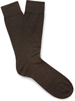 Pantherella Southall Pin-dot Egyptian Cotton-blend Lisle Socks - Dark brown