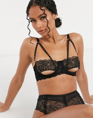 ASOS DESIGN Rosa lace underwire bra with underboob & studded strapping