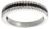 Journee Collection 3/4 CT. T.W. Round-cut CZ Pave Set Two-tone Wedding Band in Sterling Silver - Black