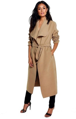Missmister Womens Ladies Italian Trench Long Coat Waterfall Duster Cape Belted Cardigan Jacket Wrap (UK 8-24) (XXX-Large (UK 20-24)