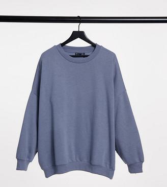 ASOS DESIGN Curve oversized cosy cocoon sweatshirt in dolphin grey