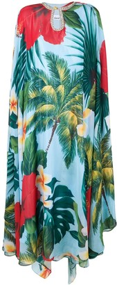 Richard Quinn tropical print tunic dress