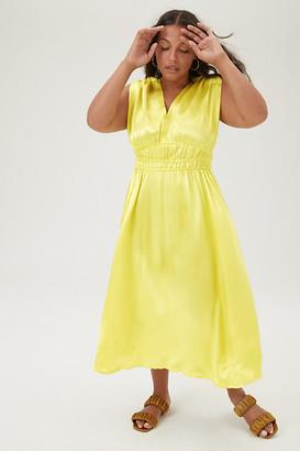Anthropologie Sarika Midi Dress By in Yellow Size XS