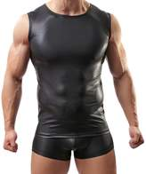 BRAVE PERSON Leather Vests Undershirt Men's Sexy Tight Sportswear Swimwear Workout Clothes (XL, )