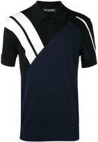 Neil Barrett stripe panel polo shirt