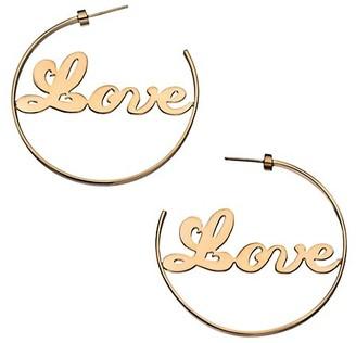Jennifer Zeuner Jewelry Blair 14K Goldplated Sterling Silver Love Hoop Earrings