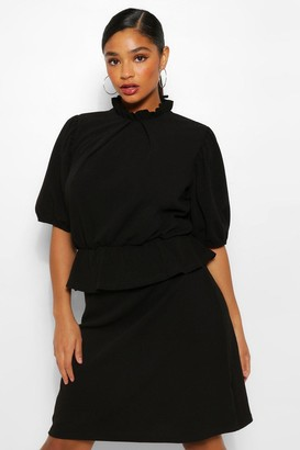 boohoo Plus Peplum Puff Sleeve High Neck Skater Dress