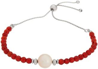 Honora Pearl And Gemstone Adjustable Bracelet, Sterling Silver