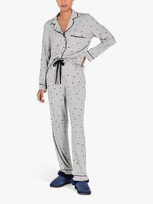 Hush Annabel Heart Cotton Jersey Pyjama Set, Grey Marl