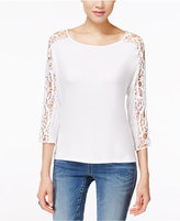 INC International Concepts Petite Crochet-Sleeve Top, Only at Macy's