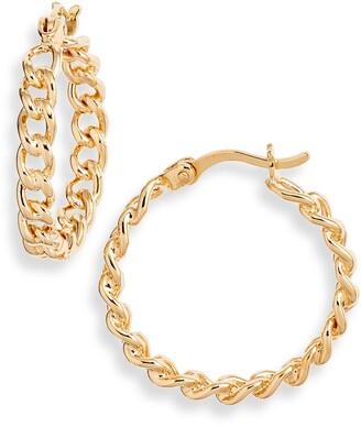 Argentovivo Chain Link Hoop Earrings