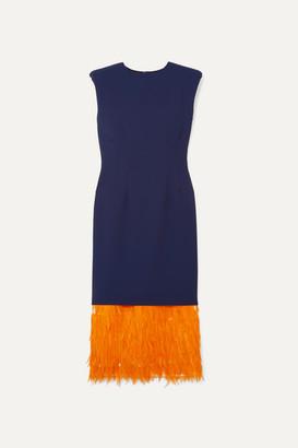 Dries Van Noten Feather-trimmed Cady Midi Dress - Blue
