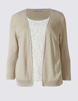 Classic Lace Front Round Neck 3/4 Sleeve Cardigan
