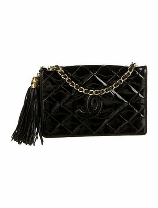 Chanel Vintage Quilted CC Flap Bag Black