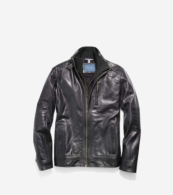 Cole Haan Washed Leather Moto Jacket