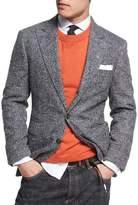 Brunello Cucinelli Donegal Tweed Alpaca-Wool Sport Jacket, Medium Gray