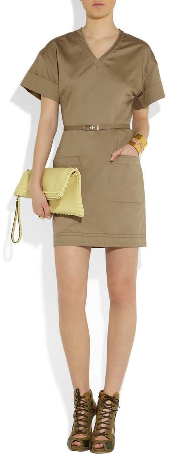Victoria Beckham Victoria, Belted cotton-sateen mini dress