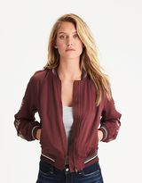 American Eagle Outfitters AE Embroidered Satin Bomber