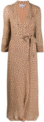 Ganni Georgette crepe polka dot dress