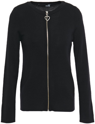 Love Moschino Zip-detailed Ribbed Wool-blend Cardigan